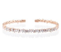 18K Rose Gold and diamond Fireworks Classic Baguette Bangle