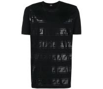 T-Shirt mit Metallic-Logos
