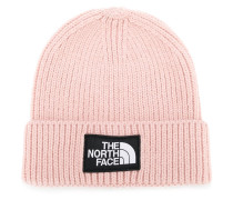 logo patch ribbed beanie