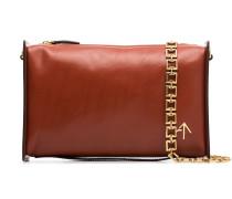 chain-trim leather shoulder bag