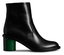 Two-tone Leather Block-heel Boots