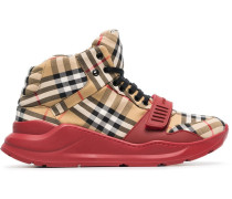 High-Top-Sneakers mit Vintage-Check