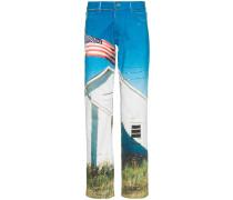 Jeans mit Flaggen-Print