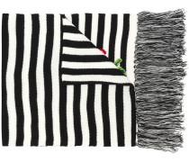Gestreifter Schal mit Blumenstickerei