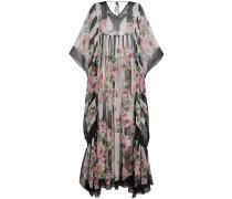 Silk Rose Print Maxi Kaftan Dress