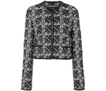 Cardigan Jacket With Slashed Tulle Binding In Embroidered Sheer Tweed On Tulle - Unavailable
