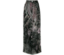 flared nature print trousers