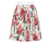 high waisted peony print cotton skirt