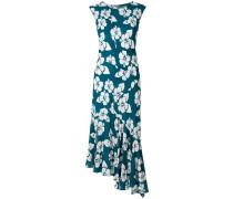 floral asymmetric ruffle hem dress