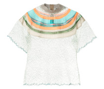 stripe panel sheer T-shirt
