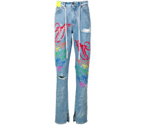Distressed-Jeans mit Graffiti