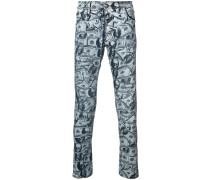 Skinny-Jeans mit Dollar-Print