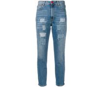Cropped-Jeans mit seitlichen Streifen