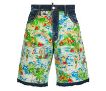 Jeans-Shorts mit Hawaii-Print