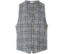 checked textured waistcoat