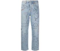 Jeans mit Skizzen-Print