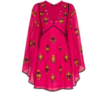 Jasmine V-neck floral embroidered linen dress