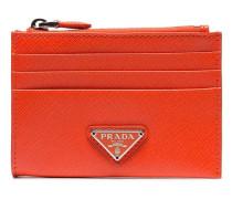 Orange logo embellished leather zipped card case