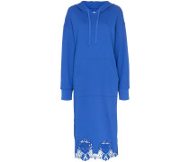 lace-hem hoodie midi dress