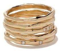 18kt Gelbgoldring-Set mit Diamanten
