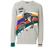 """Intarsien-Pullover mit """"T-Rex""""-Print"""