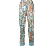 tiger printed flared trousers