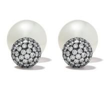 18kt Schwarzgoldohrringe mit Perlen