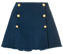 button embellished A-line skirt