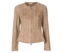 fitted collarless jacket