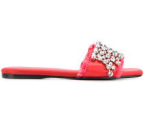 crystal-embellished satin slides