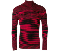 stripe fitted turtleneck sweater