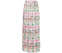 straw print pleated maxi skirt