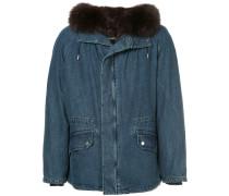 fur hooded denim coat