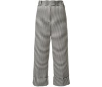 Cropped-Hose mit Hahnentrittmuster