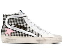 Karierte High-Top-Sneakers