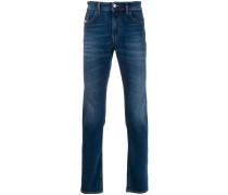 stonewashed straight-leg jeans