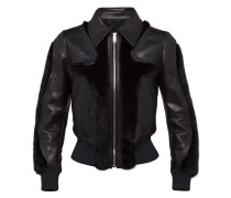 leather and mink jacket