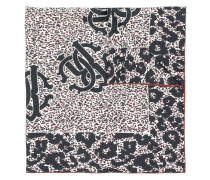 logo leopard print scarf