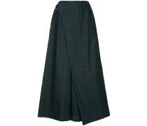 wrap-style light denim palazzo pants