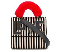 striped flap tote bag