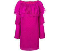 off-shoulder pleated sweater dress