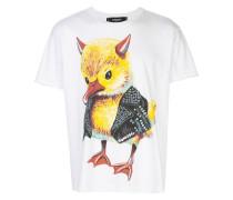evil duck print raw hem T-shirt