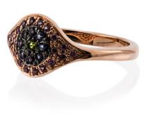 18k rose gold Cats Eye sapphire tsavorite ring