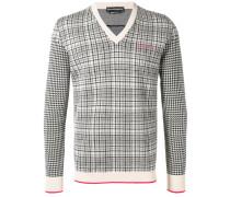 check knitted sweatshirt