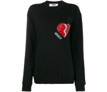 long sleeved embellished-heart sweater