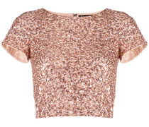 Cropped-T-Shirt mit Pailletten