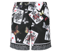 Playing Cards and butterfly print swim shorts