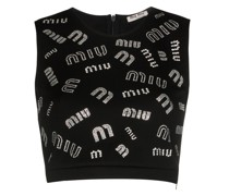 Cropped-Top mit Kristall-Print
