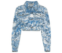 Cropped-Jeansjacke mit Tapetenmuster