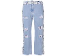 Jeans mit Tweed-Einsätzen